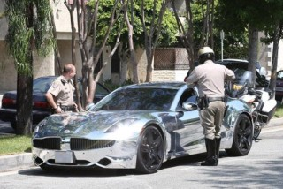 Justin Bieber ticketed by police in his Fisker Karma