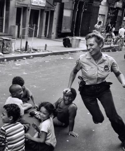 1970 Vintage NYC Police Officer Having Fun With Kids