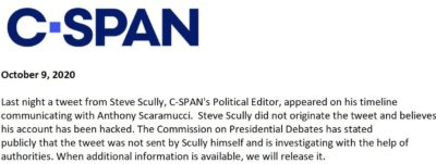 2020-10-09 C-SPAN statement on Steve Scully being hacked
