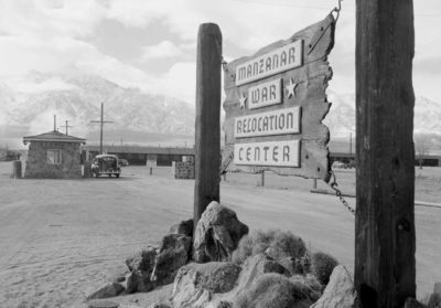Click to learn about the Korematsu decision Manzanar War Relocation Center 1943