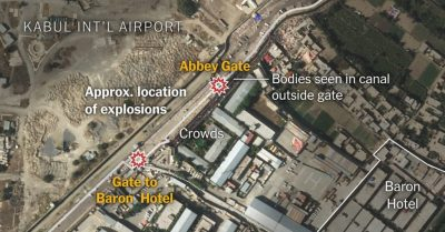 2021-08-26 Kabul Airport Area map of suicide bomber explosions